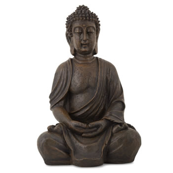 Image of Detailed Stone Look Resin Buddha Statue Ornament for Home or Garden
