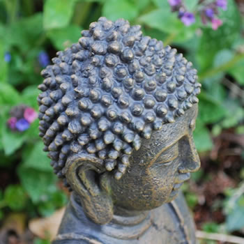 Extra image of Detailed Stone Look Resin Buddha Statue Ornament for Home or Garden