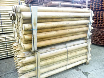 Image of 10 1.8m (6ft) x 100mm (4 inches) Diameter heavy duty pressure treated fence posts