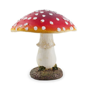Image of Large Red Resin Mushroom Toadstool Garden Ornament - 17cm Tall