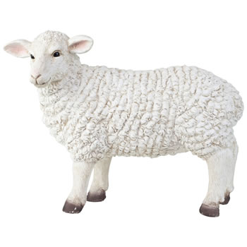 Image of Sheila the Large 37cm Realistic Fibreclay White Sheep Ewe Garden Statue Ornament