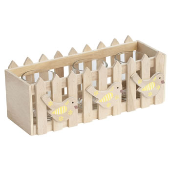 Image of Wooden Picket Fence Yellow Spring Bird Triple Tealight Holder