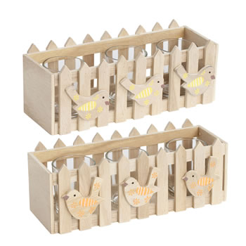Image of Set of 2 Wooden Picket Fence Spring Bird Triple Tealight Holder