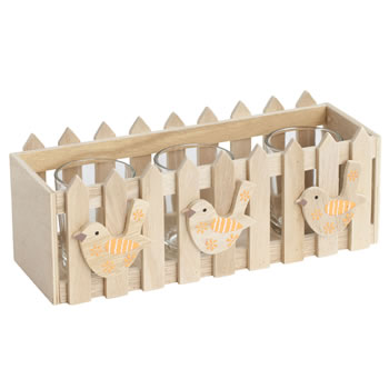 Image of Wooden Picket Fence Orange Spring Bird Triple Tealight Holder