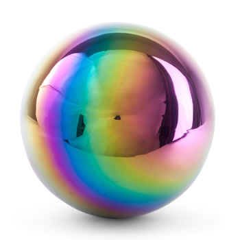 Image of Multi-coloured Petrol Effect 18cm Stainless Steel Garden Gazing Ball Mirror Sphere Ornament