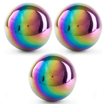 Image of 3 x Multi-coloured Petrol Effect 18cm Stainless Steel Garden Gazing Ball Mirror Sphere Ornaments
