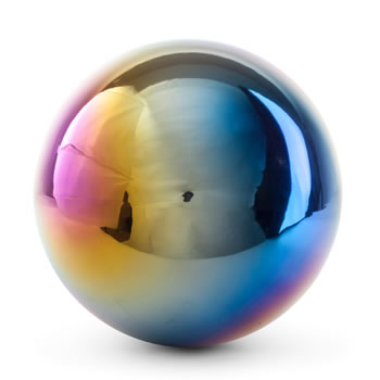Image of Multi-coloured Petrol Effect 22cm Stainless Steel Garden Gazing Ball Mirror Sphere Ornament