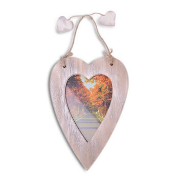 Image of Single Hanging Brown Heart Photo Frame with Jute Hanger
