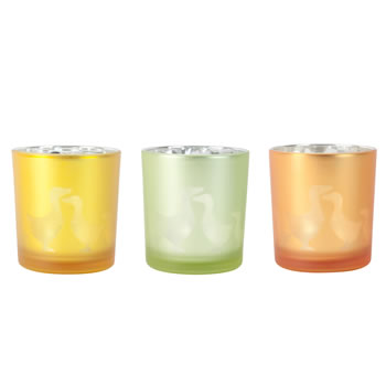 Image of 3pc Set of Yellow, Green & Orange Glass Easter Duck Tealight Holders