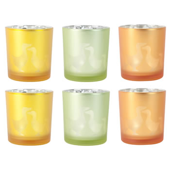 Image of 6pc Set of Yellow, Green & Orange Glass Easter Duck Tealight Holders