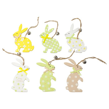 Image of Set of 6 Pastel Yellow & Green Wood Hanging Easter Bunny Rabbit Decorations