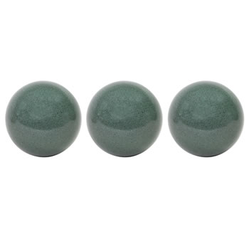 Image of 3 x Green Marble Effect Stainless Steel Garden Gazing Balls (22cm)