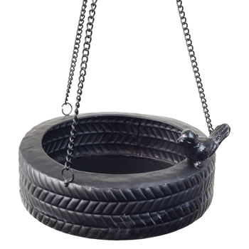 Extra image of Hanging Black Metal Horizontal Tyre Swing Garden Bird Feeder