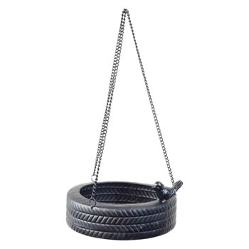 Image of Hanging Black Metal Horizontal Tyre Swing Garden Bird Feeder