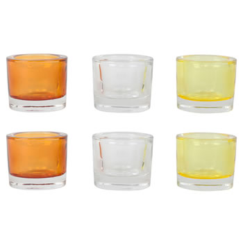 Image of Set of 6 Chunky Orange, Yellow & Clear Glass Tealight Candle Holders