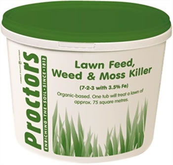 Image of 5kg tub of Proctors 3 in 1 Lawn feed weed and moss killer grass fertiliser