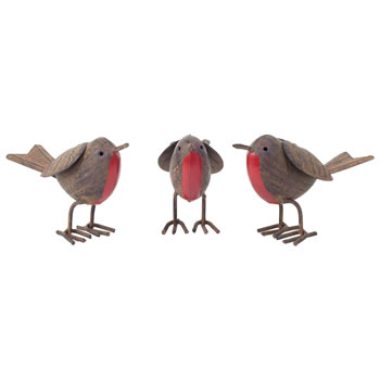 Image of Set of 3 Rusty Tin Metal Robin Bird Garden or Home Ornaments