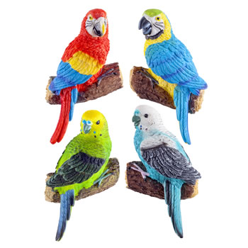 Image of 4 Wall Mountable Coloured Tropical Parrot & Parakeet Bird Ornaments