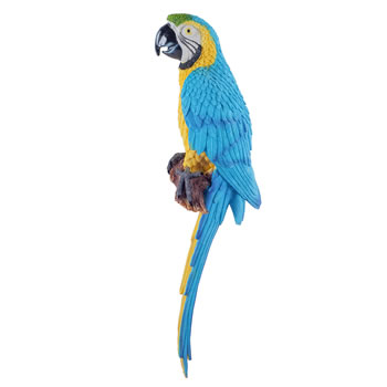 Image of Tiki the Wall Mountable 45cm Blue & Yellow Macaw Parrot Garden Ornament