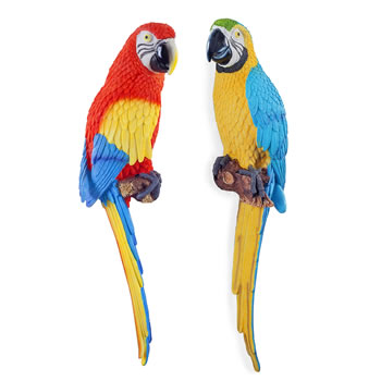 Image of Kiwi & Tiki the Wall Mountable 45cm Coloured Macaw Parrot Pair