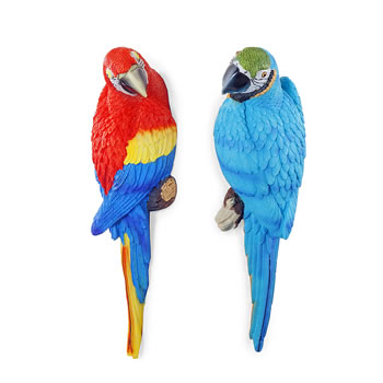 Image of Tango & Rio the Wall Mountable 30cm Coloured Macaw Parrot Ornaments