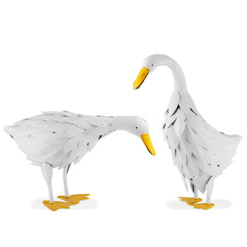 Image of Philip and Pamela the Rustic Metal Free-standing Geese Garden Bird Figurine Ornaments