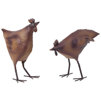 Image of Set of 2 Rusty Look Metal Chicken Hen Garden Ornament Statues