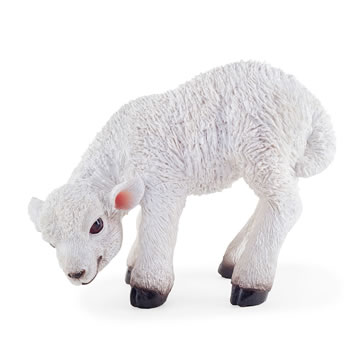 Image of Knit the Realistic Resin Standing White Lamb Garden Ornament