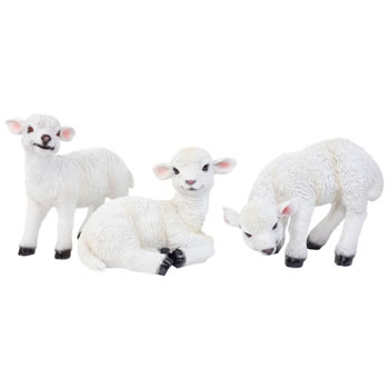Image of 3 Realistic White Lamb Animal Ornaments - Standing, Laying & Grazing