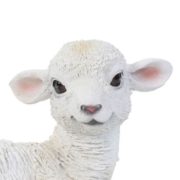 Extra image of Realistic 18cm Laying White Lamb Sheep Animal Garden Ornament