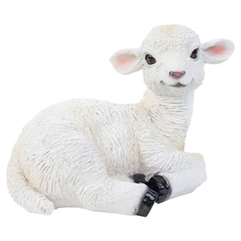 Image of Realistic 18cm Laying White Lamb Sheep Animal Garden Ornament