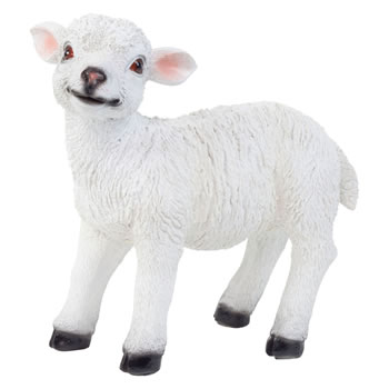 Image of Realistic 23cm Standing White Lamb Sheep Animal Garden Ornament