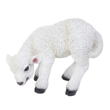 Image of Realistic 13cm Grazing White Lamb Sheep Animal Garden Ornament
