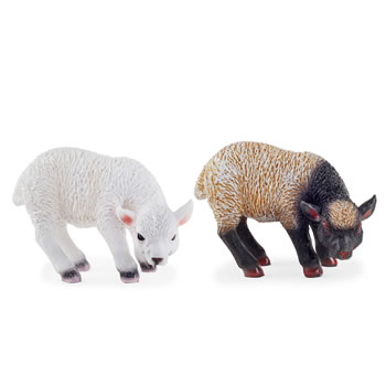Image of Waffle & Bobble the Realistic Resin Standing White and Black Lamb Garden Ornaments