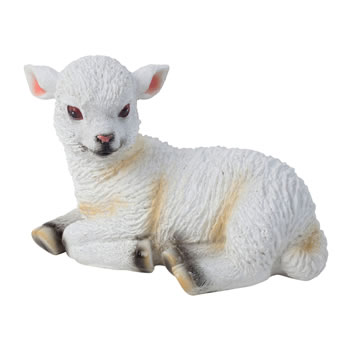 Image of Realistic Small 10cm Laying White Lamb Sheep Animal Garden Ornament