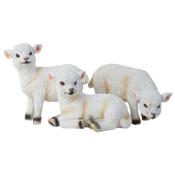 Image of Set of 3 Small Realistic White Lamb Sheep Animal Garden Ornaments - Standing, Laying & Grazing