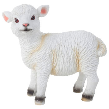 Image of Realistic Small 14cm Standing White Lamb Sheep Animal Garden Ornament