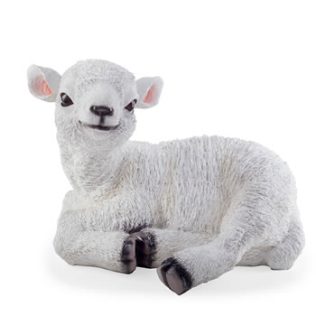 Image of Purl the Realistic Resin Large Laying White Lamb Garden Ornament
