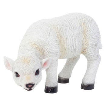 Image of Realistic 23cm Grazing White Lamb Sheep Animal Garden Ornament