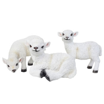 Image of Set of 3 Realistic White Lamb Sheep Animal Garden Ornaments - Standing, Laying & Grazing