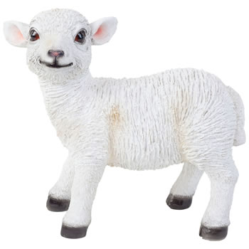 Image of Realistic 27cm Standing White Lamb Sheep Animal Garden Ornament