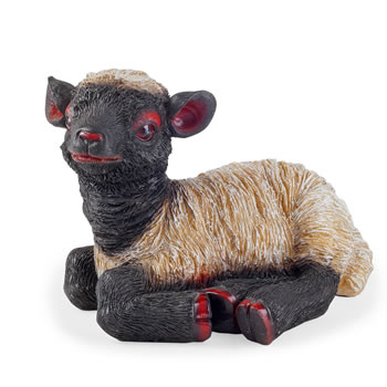 Image of Flame the Realistic Resin Laying Black Lamb Garden Ornament