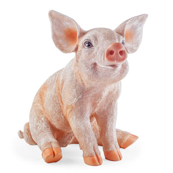 Image of Petunia the Large Realistic Resin Sitting Pig Garden Ornament