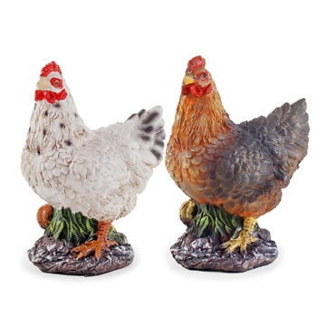 Image of Rosemary & Thyme the Realistic Resin Standing White & Brown Hen/Chicken Garden Ornament Pair