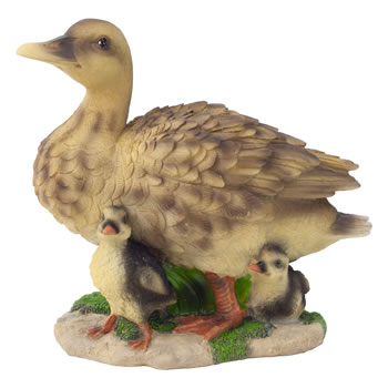 Image of Realistic Life-size Duck with Ducklings Garden Animal Ornament