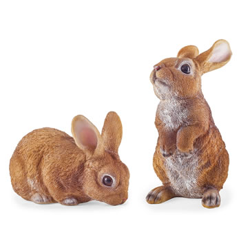 Image of Cleo & Clyde the Pair of Realistic Resin Rabbit Garden Ornaments