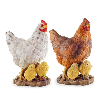 Image of 2 Large Realistic Resin Hen/Chicken 'n' Chicks Garden Ornaments