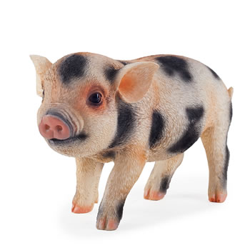 Image of Realistic Pink & Black Spotted Piglet Resin Garden Ornament