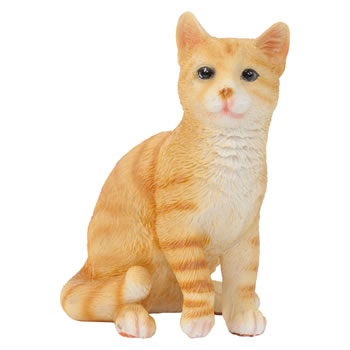 Image of Realistic Small 12cm Sitting Ginger Cat Polyresin Ornament Figurine
