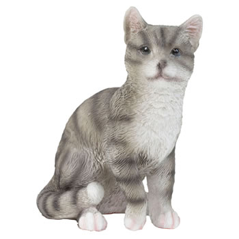 Image of Realistic Small 12cm Sitting Grey Tabby Cat Polyresin Ornament Figurine